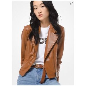 Michael Kors Brown Leather Moto Jacket